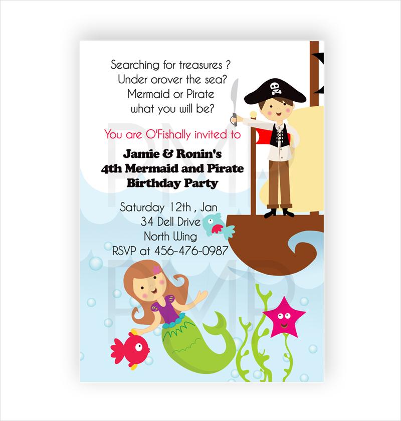 mermaid pirate birthday invite