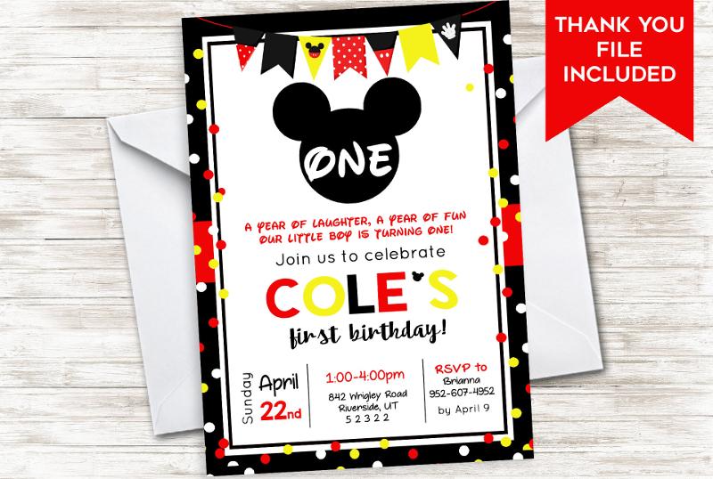 mickey first birthday invitation