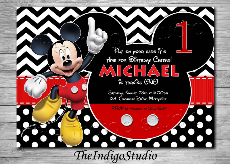 mickey mouse 1st birthday personalized invitation