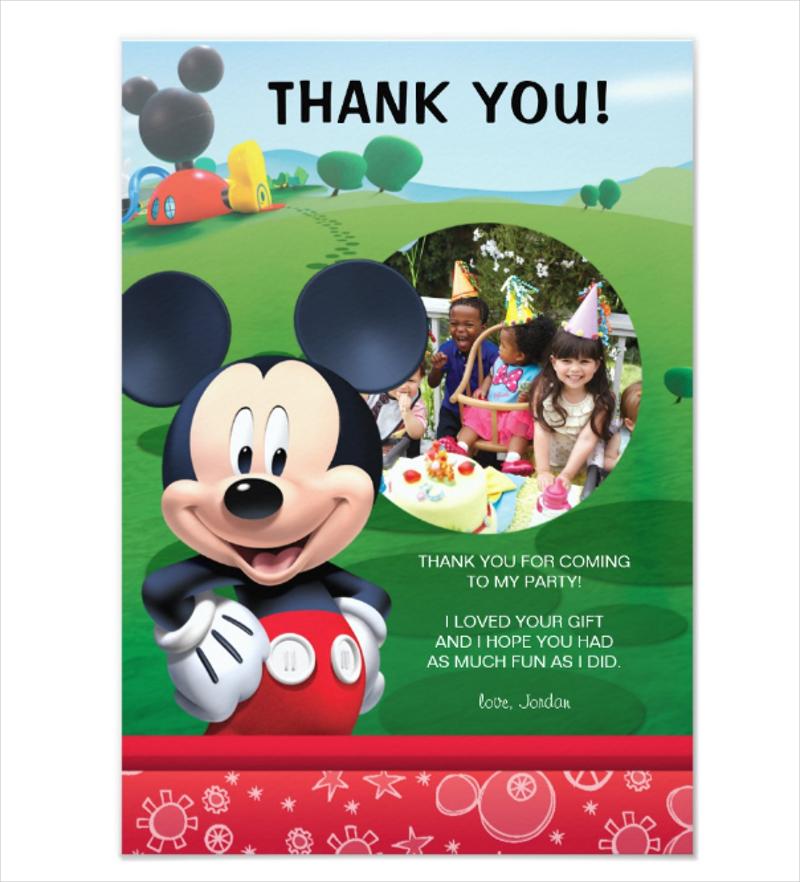 mickey mouse birthday thank you invitation
