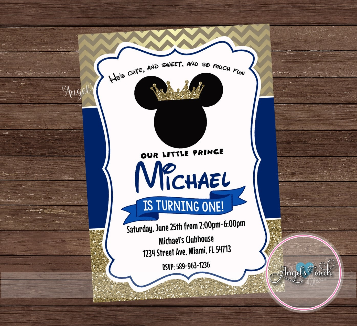 mickey mouse prince invitation
