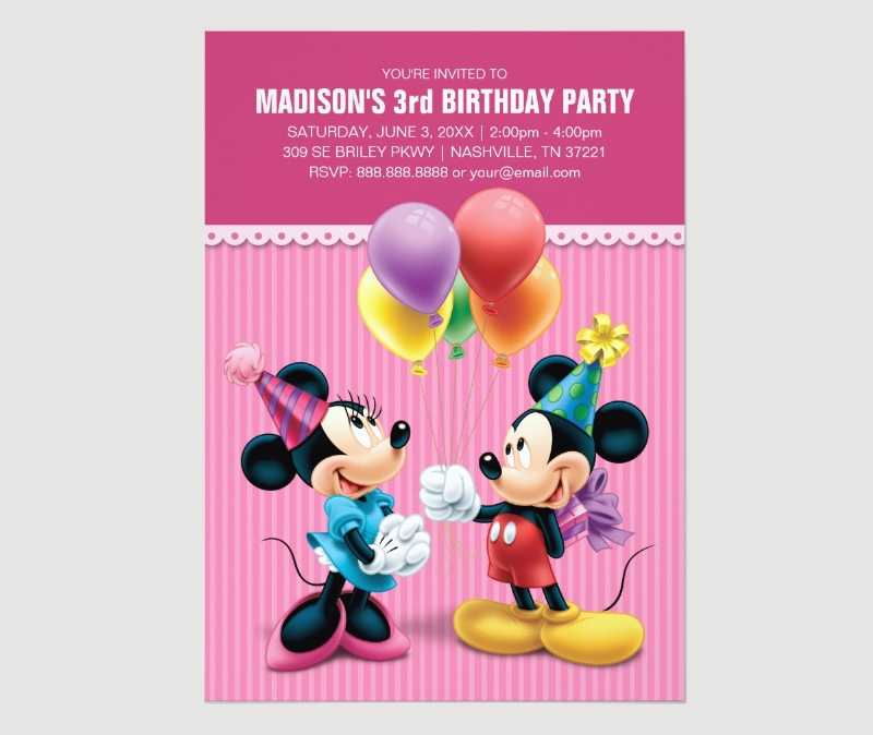 mickey and minnie birthday invitation