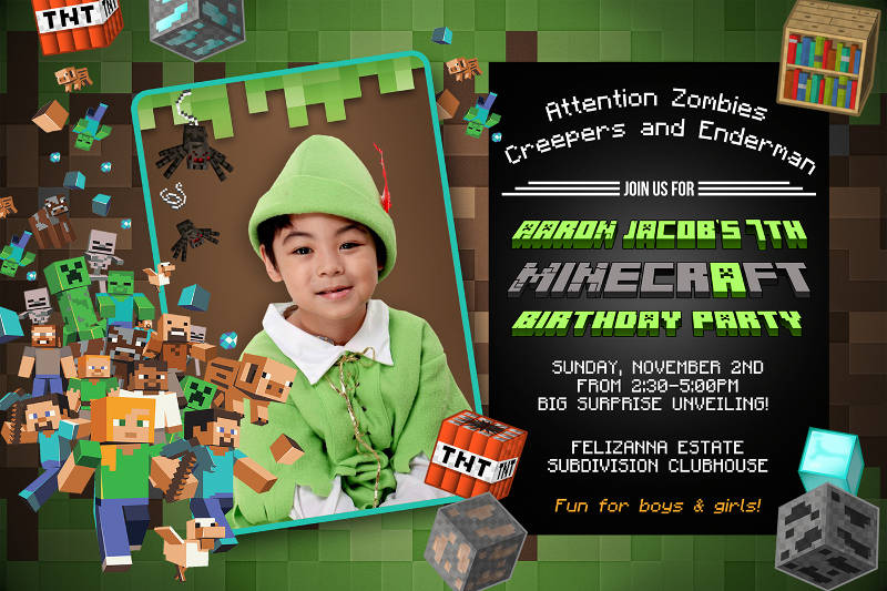 minecraft themed birthday invitation design