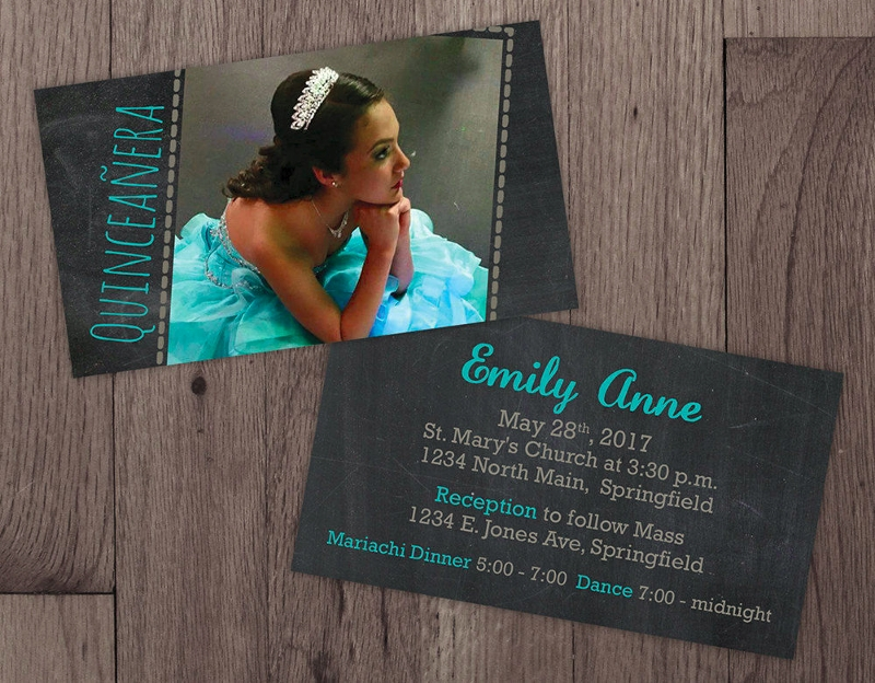 mini quinceanera invitation