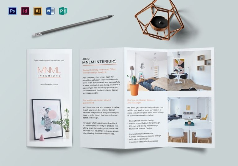 minimal interior brochure design template