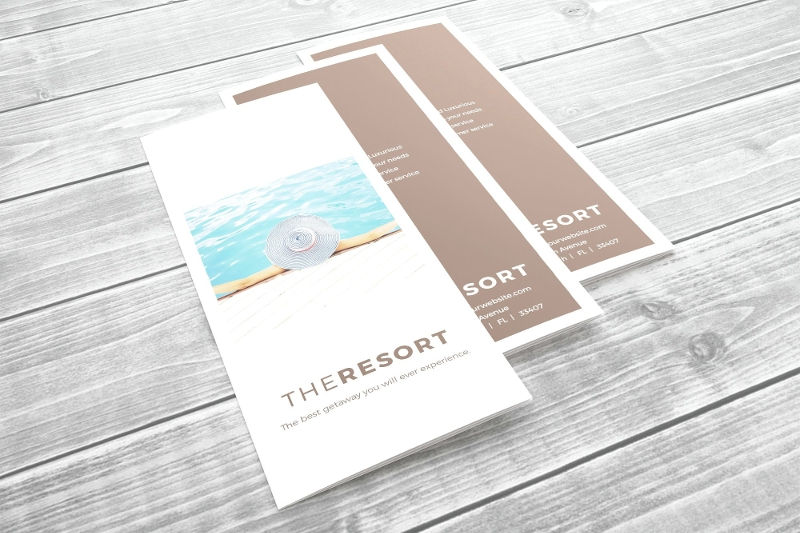 minimal resort tri fold brochure