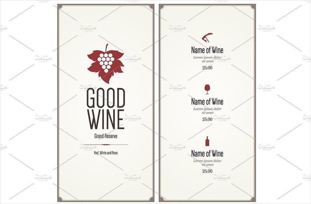 minimalist wine list