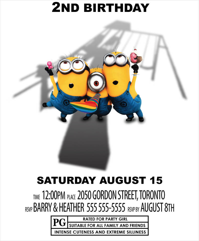 Minion Custom Theme Birthday Invitation