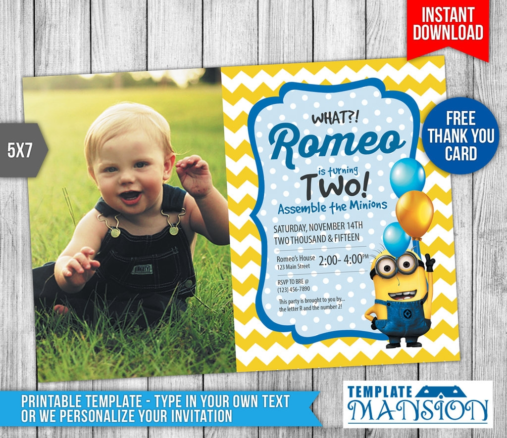 minion photo invitation