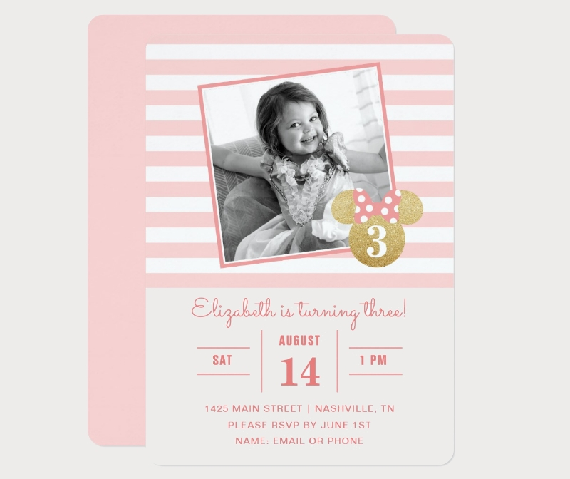minnie mouse striped photo birthday invitation