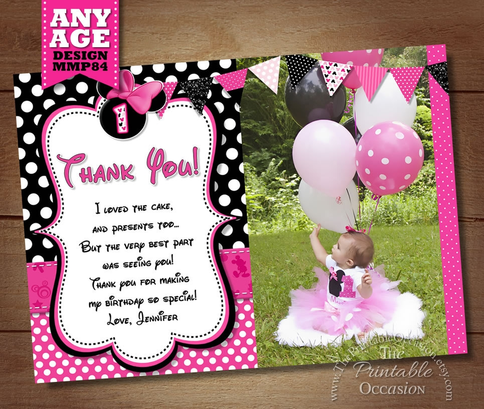 minnie mouse thank you invitation
