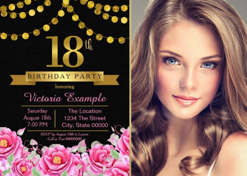 modern 18th birthday party invitation card