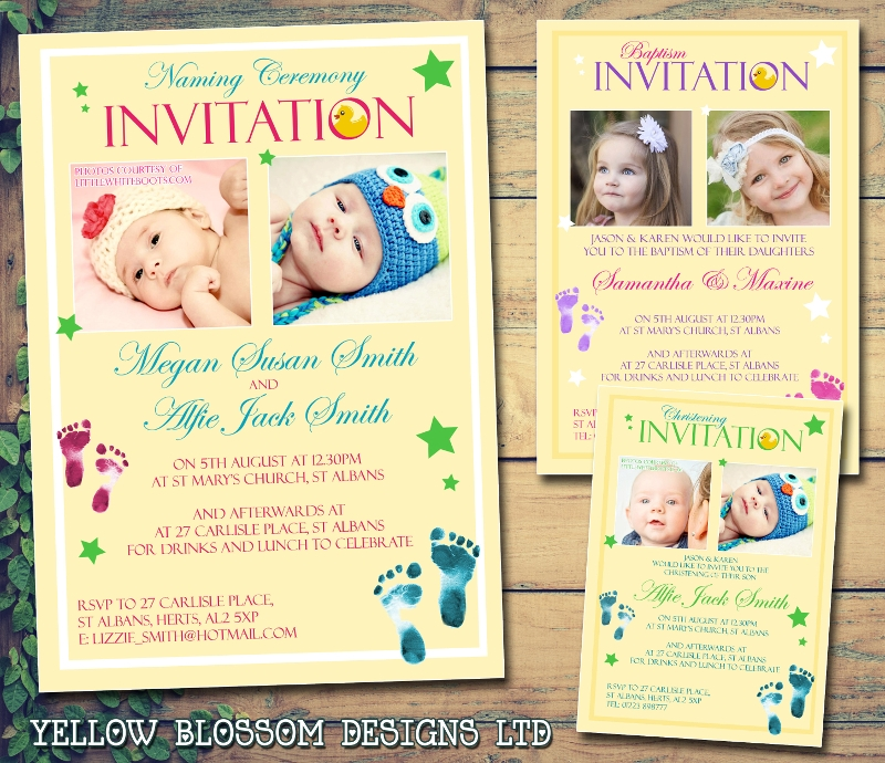 modern christening birthday naming ceremony invitation
