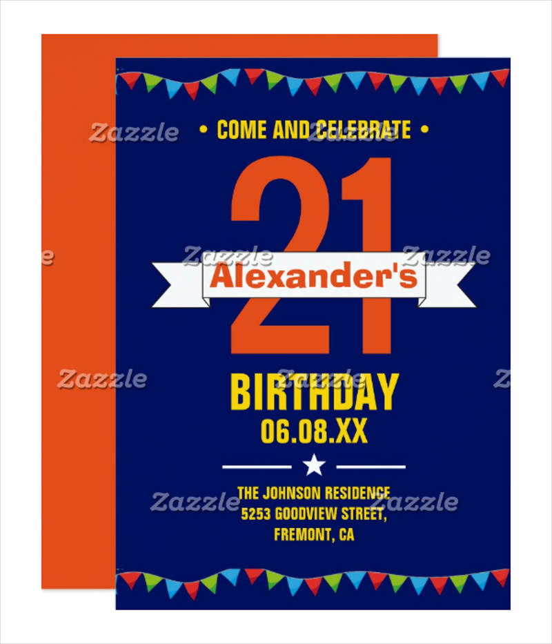 modern colorful 21st birthday invitation card