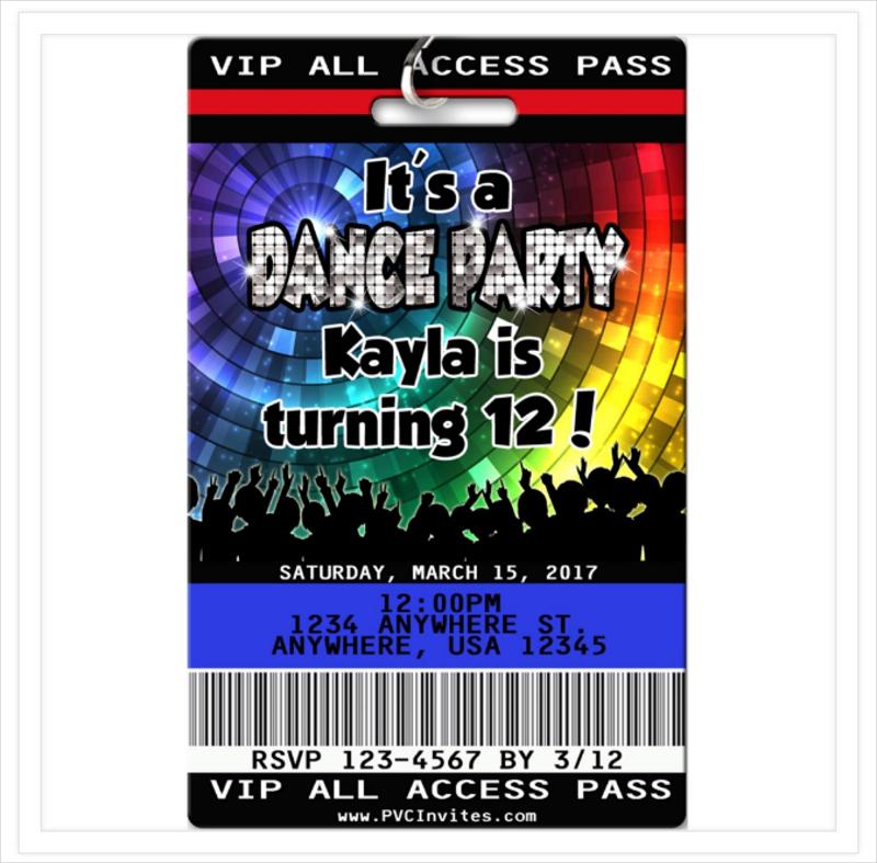 modern dance party birthday invitation