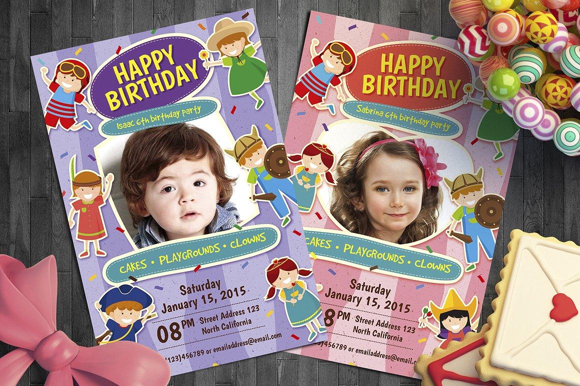modern kids birthday party photo invitation
