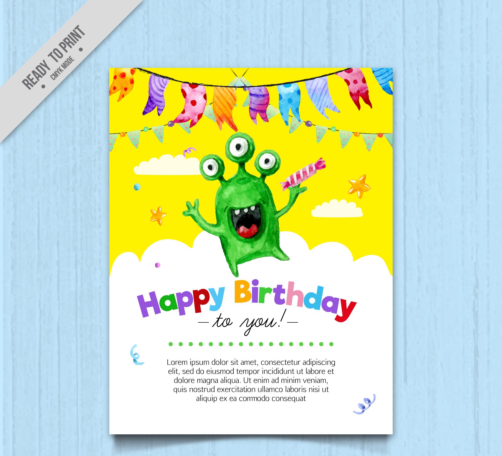 modern monster birthday invitation