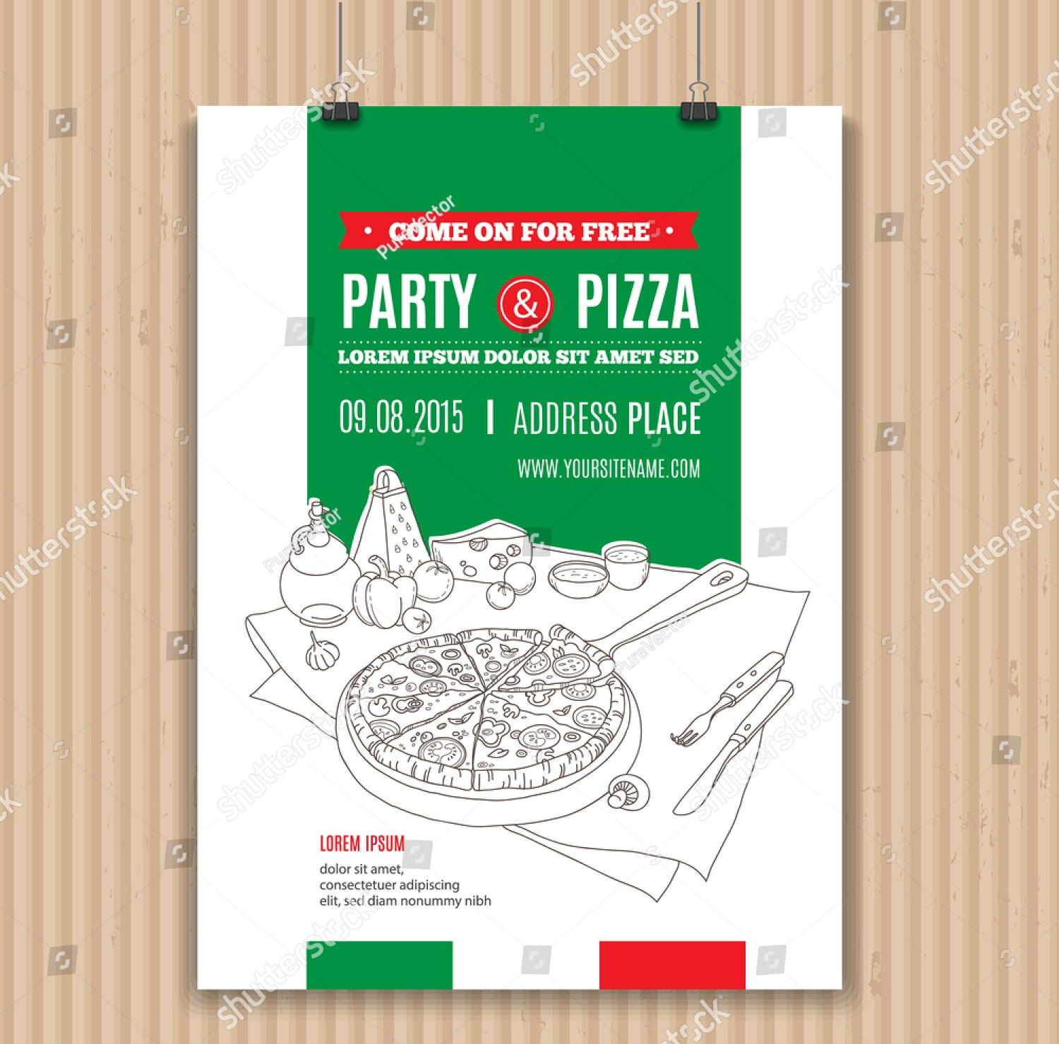 modern pizza party invitation