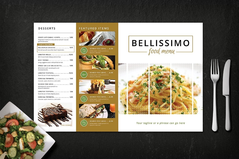 modern restaurant menu card