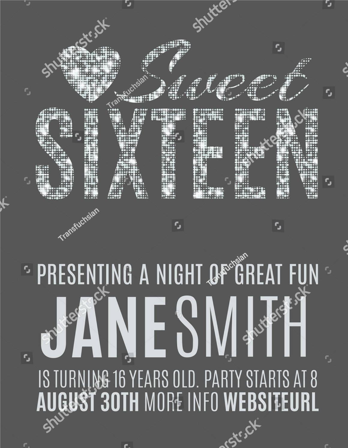 modern sweet sixteen party invitation