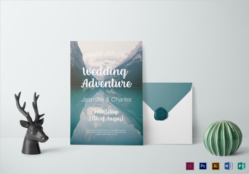 mountain scene wedding invitation template