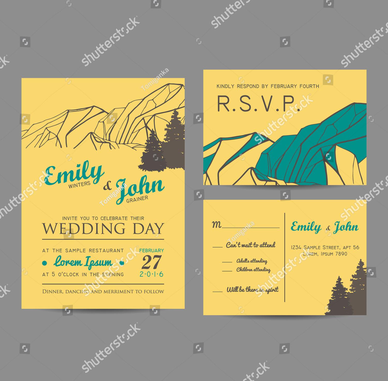 mountains resort wedding invitation