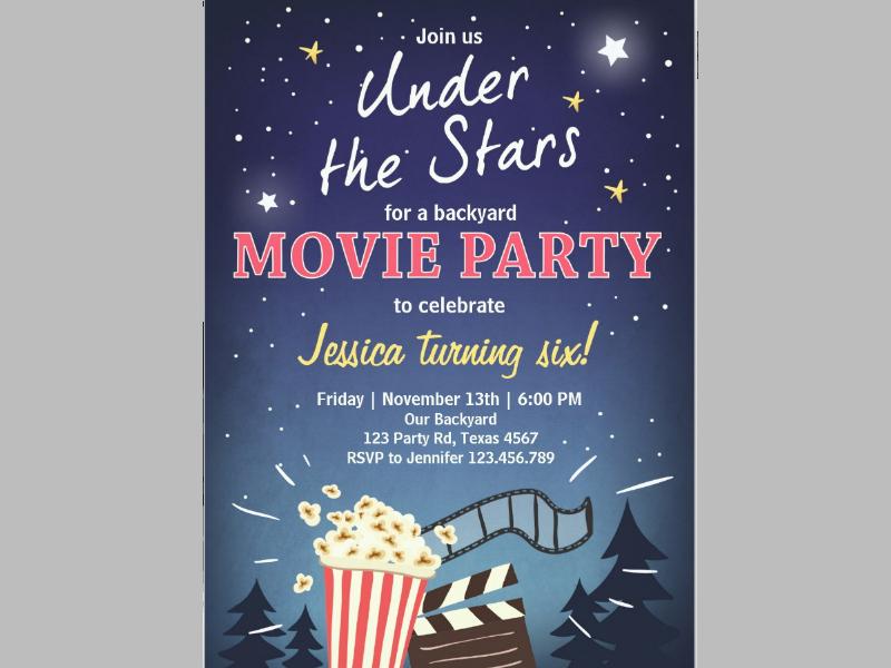movie night birthday invitation under the stars1