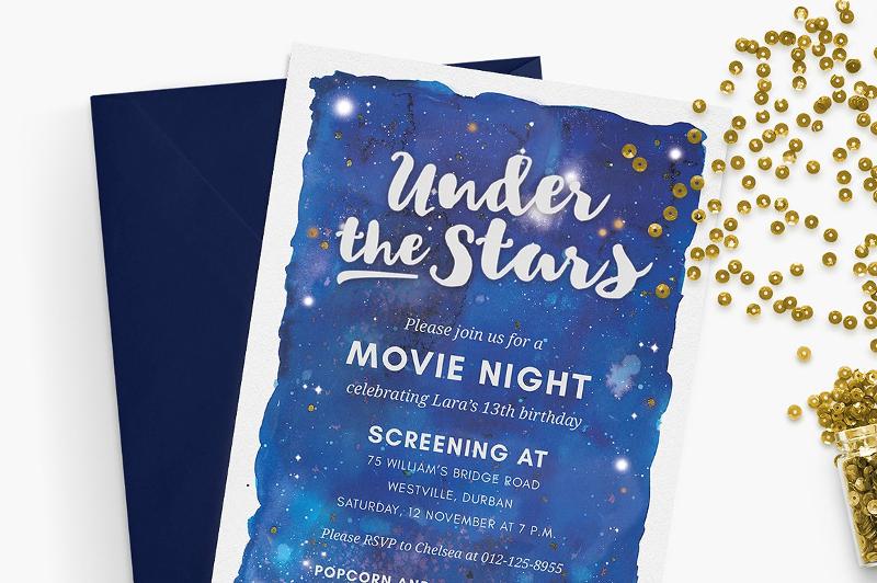movie night invitation under the stars
