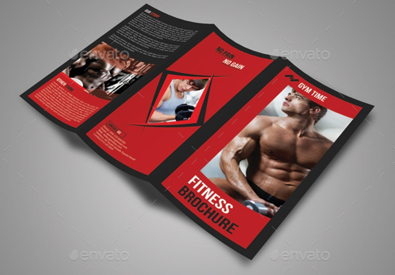 multipurpose fitness trifold brochure design 1