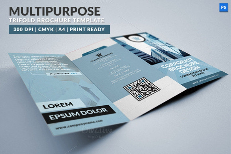 multipurpose trifold brochure psd template