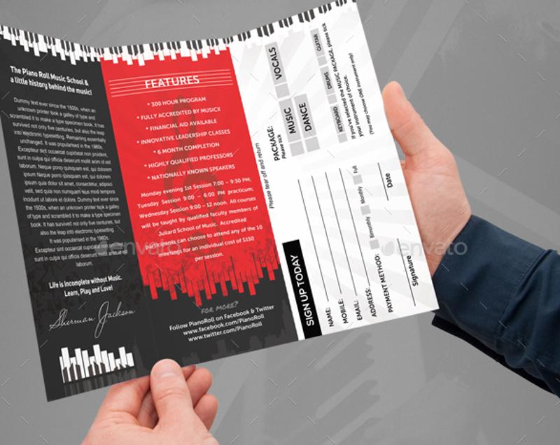 music college school creative art brochure