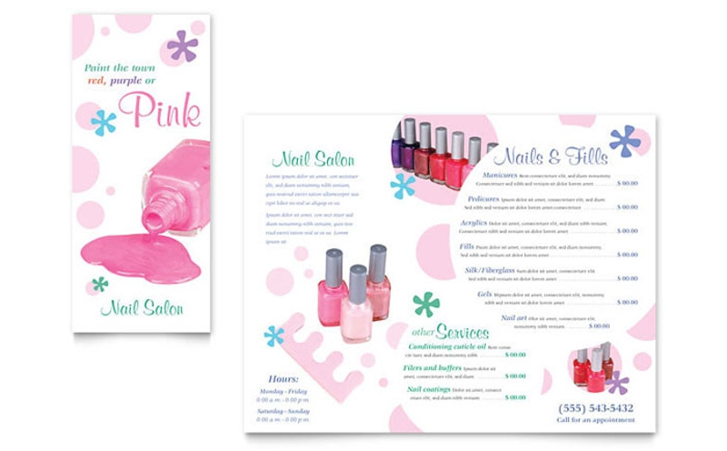 nail salon brochure design template