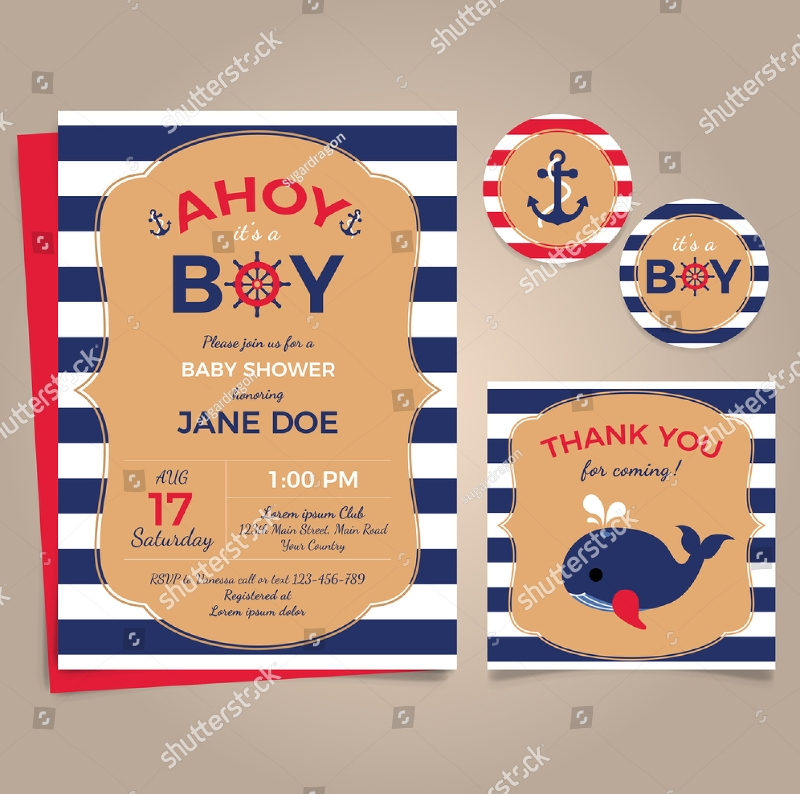 nautical baby shower party invitation