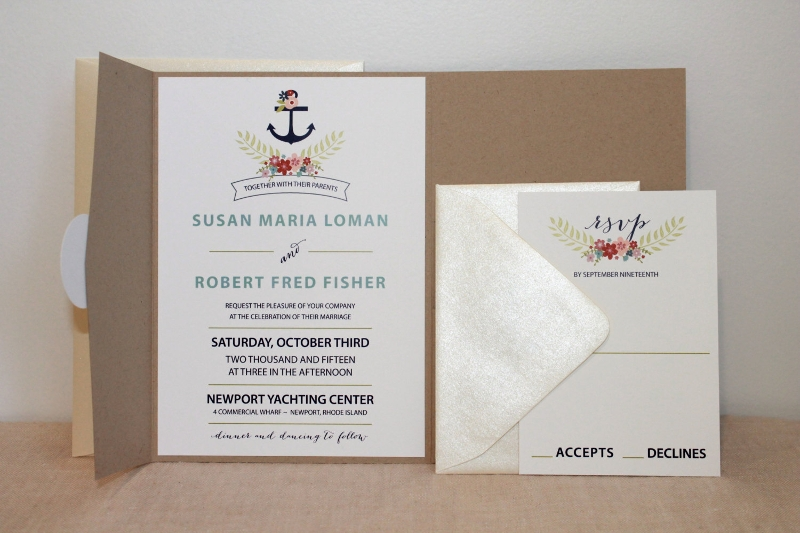 nautical floral pocket invitation