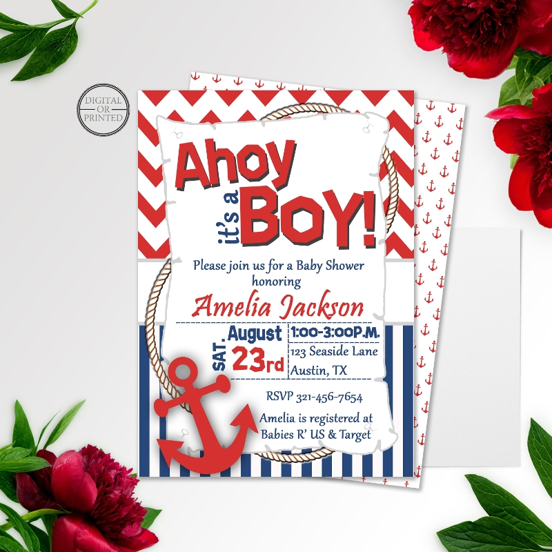 nautical sailor baby shower invitation
