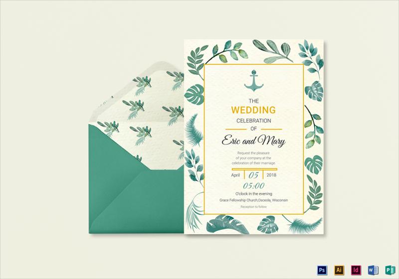 nautical wedding invitation card template1