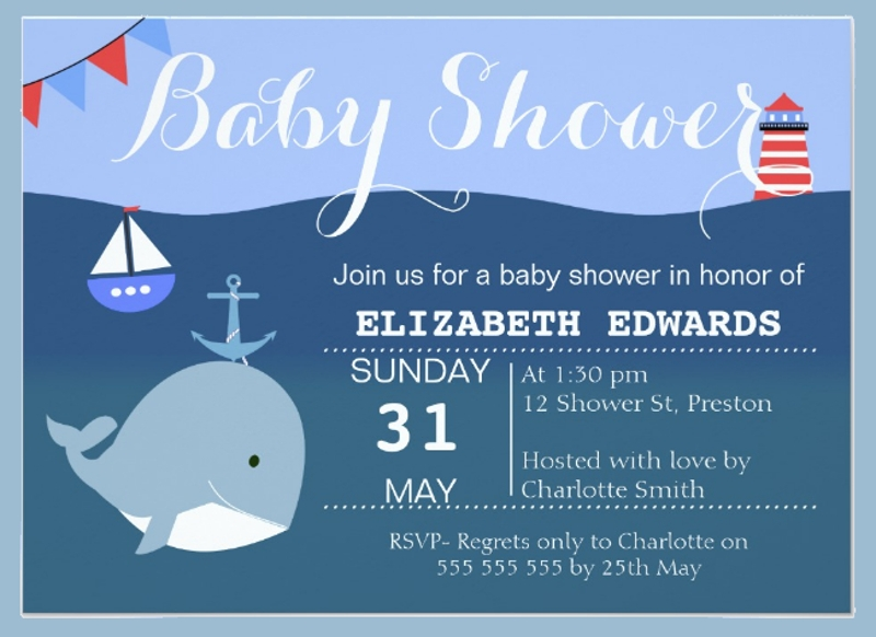 nautical whale bunting baby shower invitation