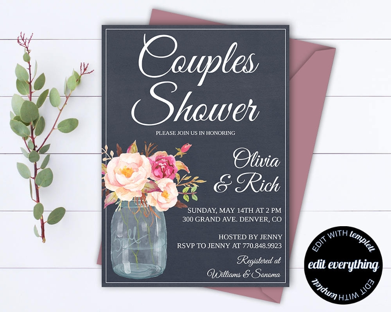 navy blue couples shower invitation template