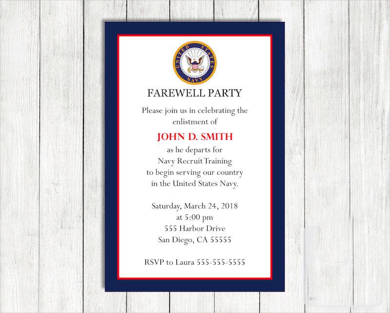 navy farewell invitation