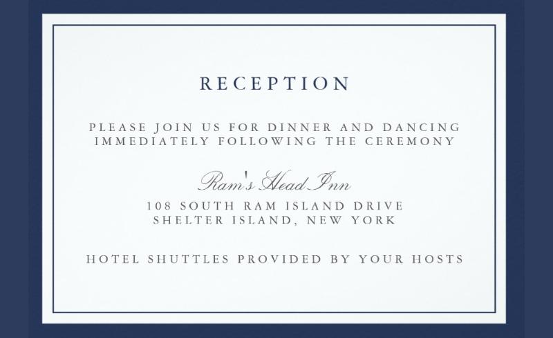 navy wedding reception card