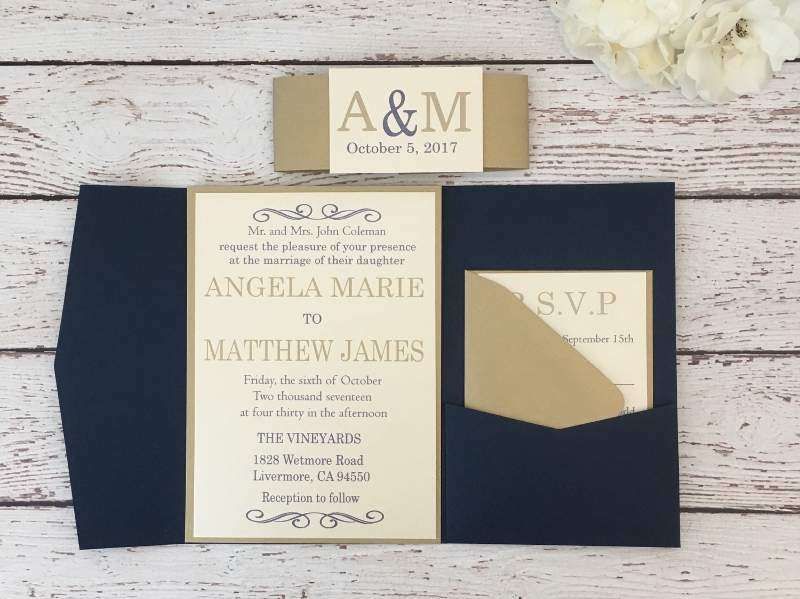 navy and gold pocket invitation