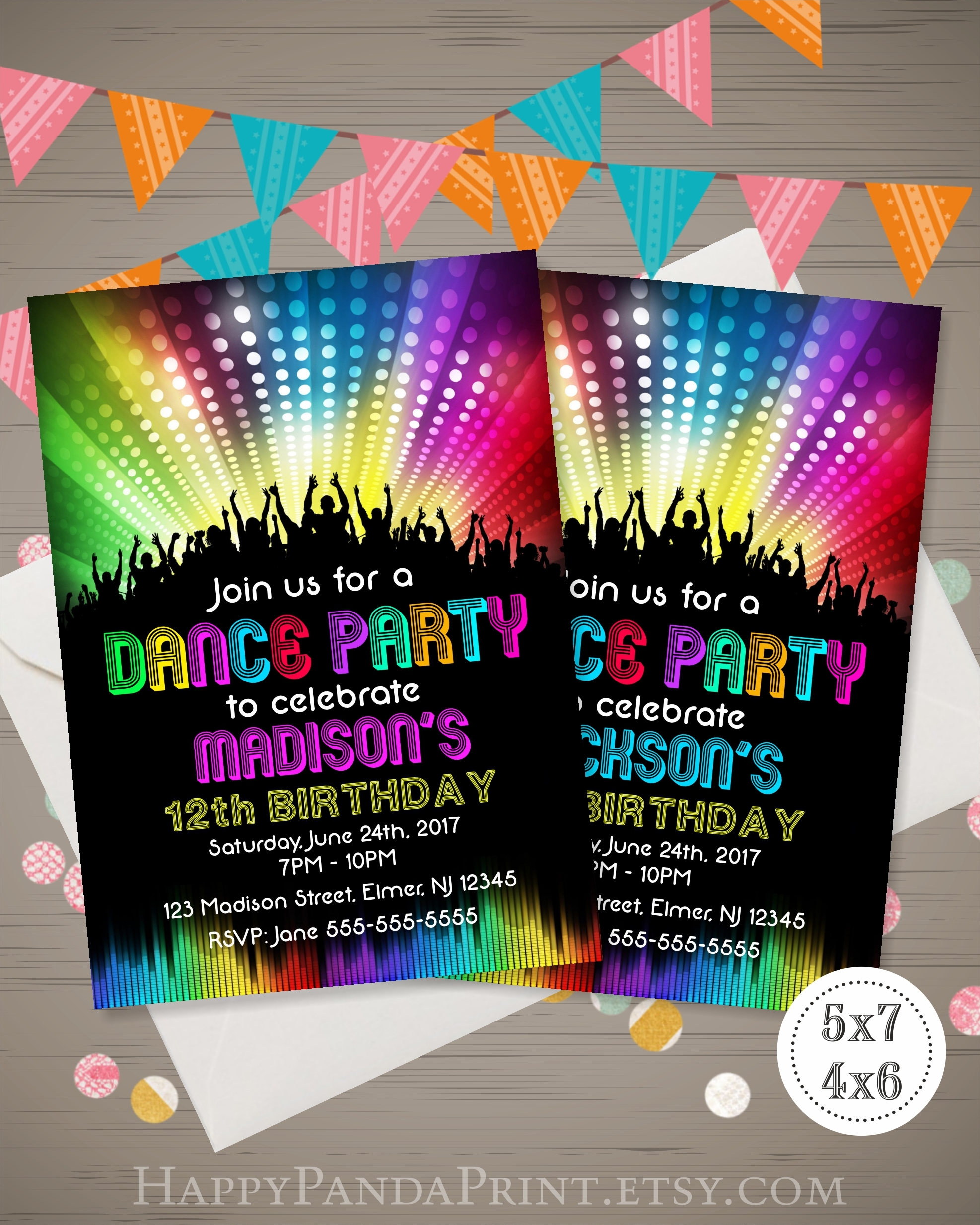 neon glow dance party invitation