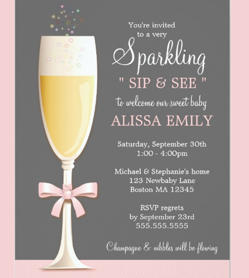 new baby girl sip and see invitation