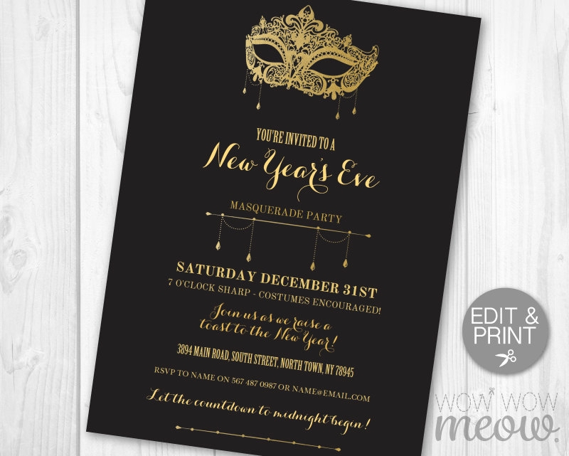 new years eve masquerade invitation