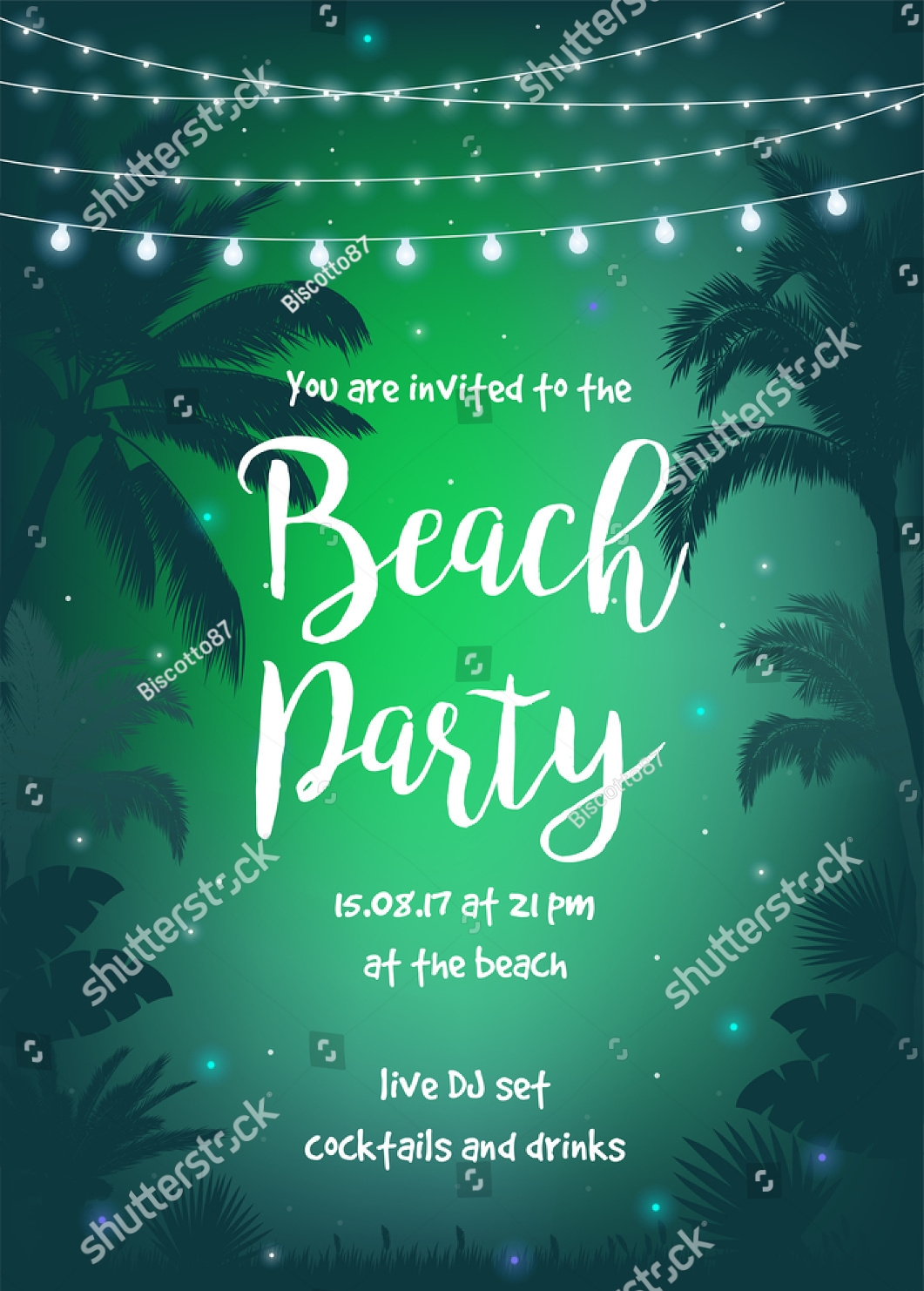 night starry sky beach party invitation