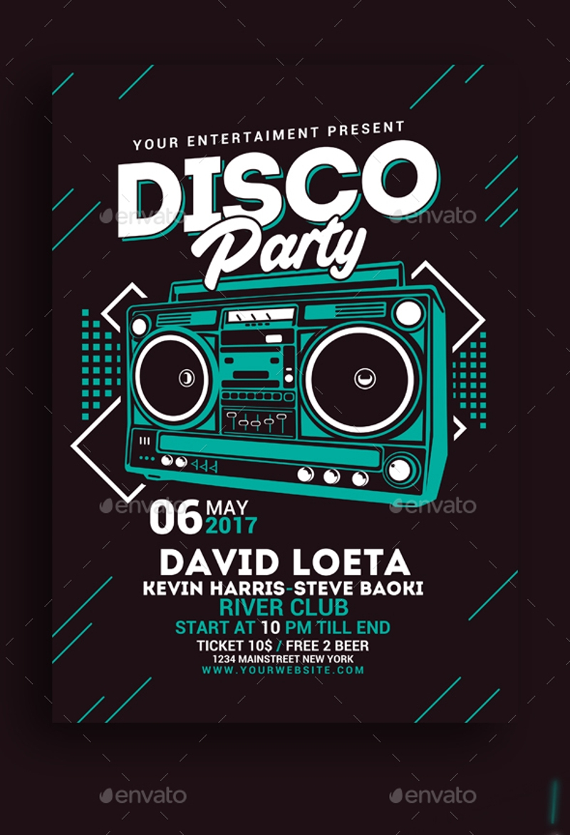 nightclub disco party invitation
