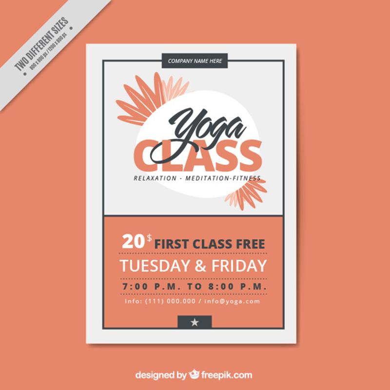 orange flower yoga classes brochure