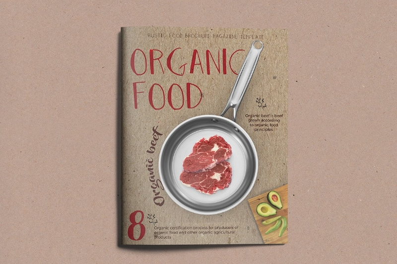organic food retro brochure