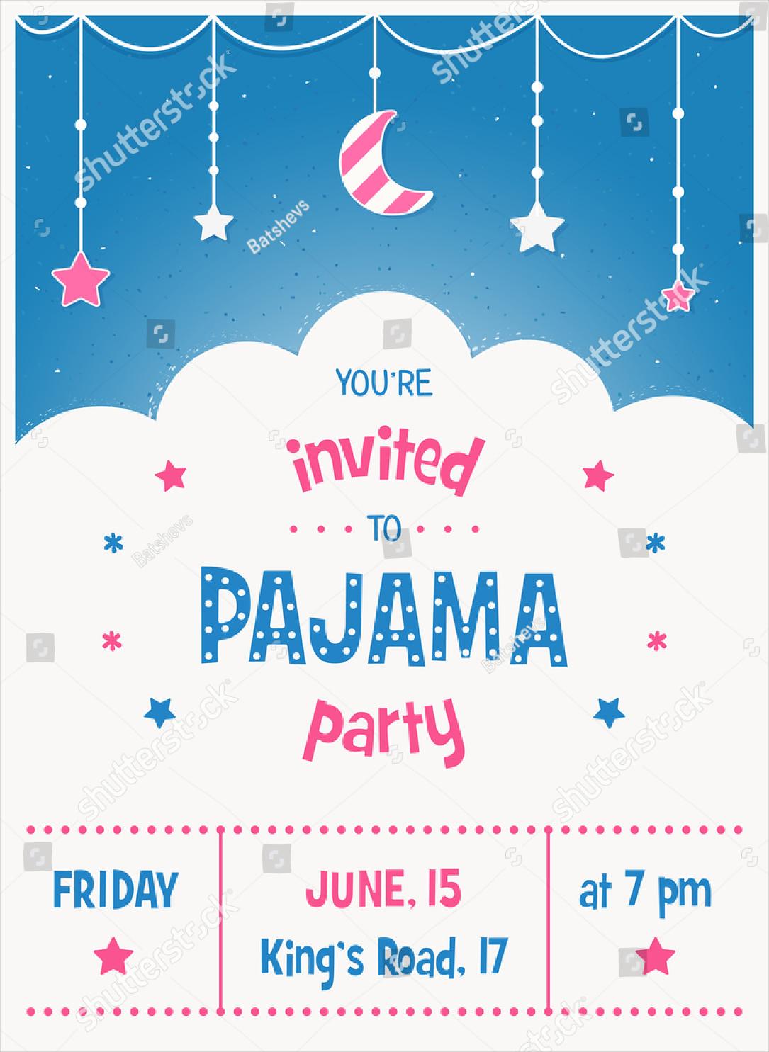 pajama sleepover kids party invitation