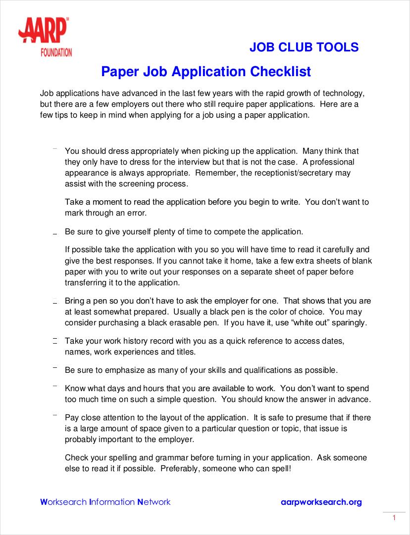 paper job application checklist sample2